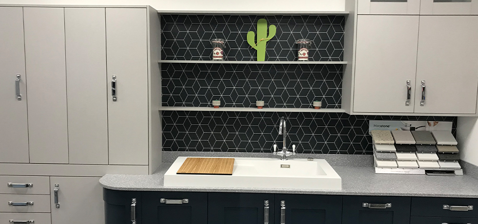 Vista Blocked Hex Midnight splashback displayed by Furniture Components UK Ltd of Lancashire