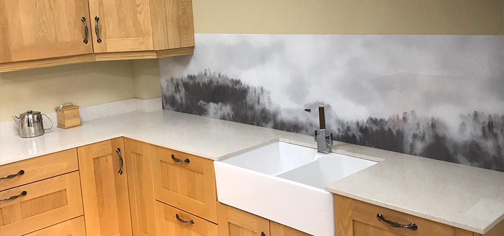 JHC Hardware, Northern Ireland displaying Vista Hazy Forest acrylic splashback