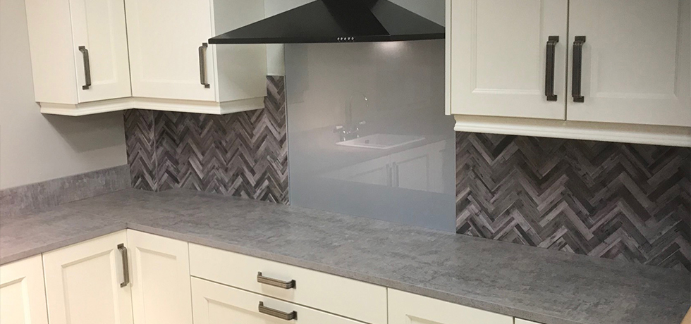 JHC Hardware, Northern Ireland displaying Vista Herringbone Natural splashback