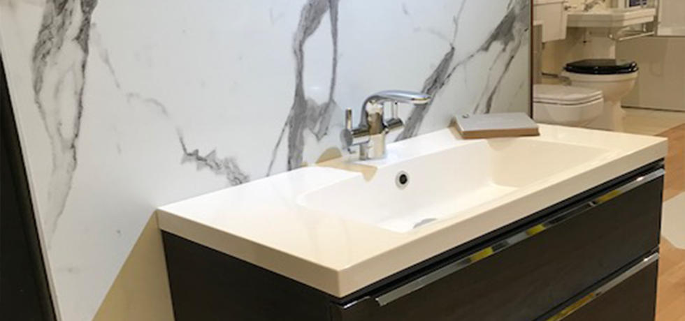 Quality Bathrooms & Kitchens displaying Nuance Calacatta Statuario.
