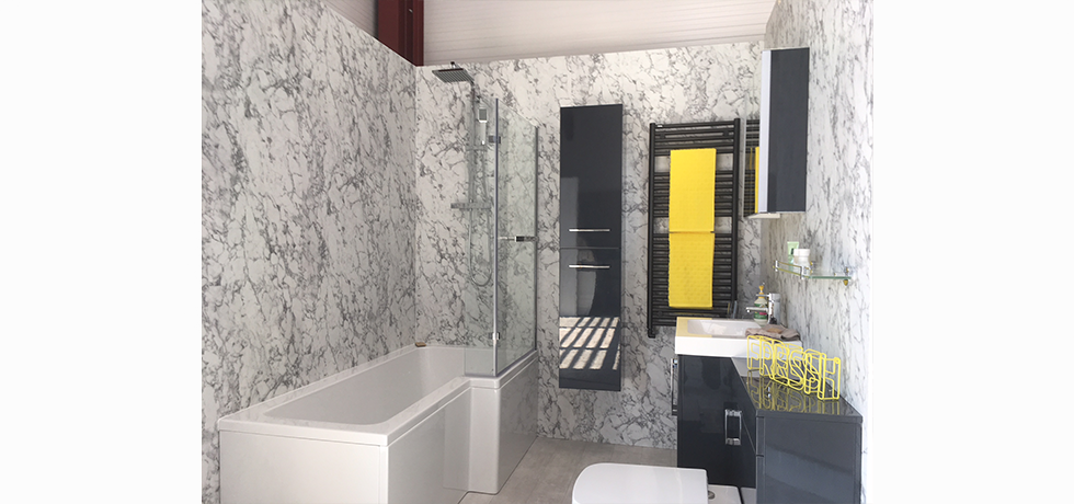 Worcester City Bathrooms displaying Nuance Turin Marble.