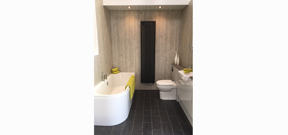 Worcester City Bathrooms displaying Nuance Chalkwood.