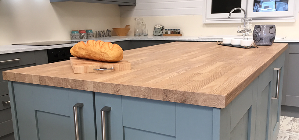 Worcester City Kitchens displaying Omega Natural Blocked Oak and showcasing the end-grain edge detail