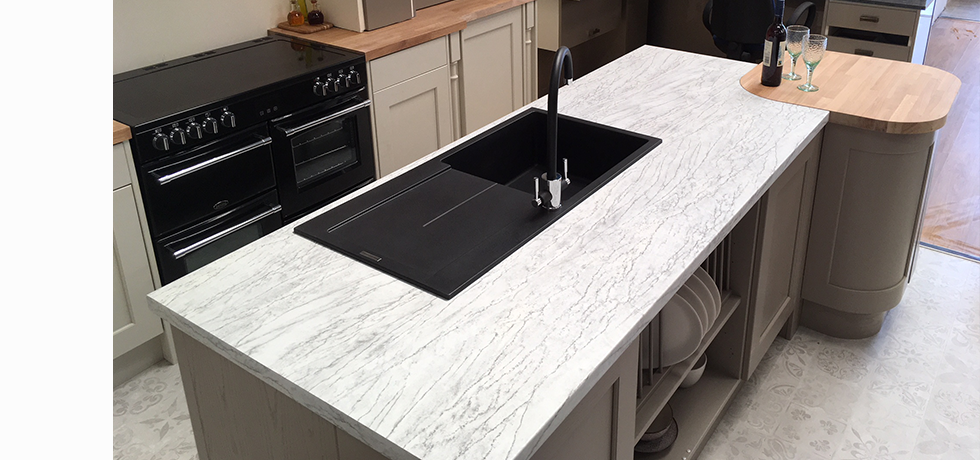 Worcester City Kitchens displaying Omega Ice Stone.
